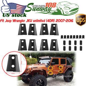 8pcs Set Black Door Hinge Cover For Jeep Wrangler Jk