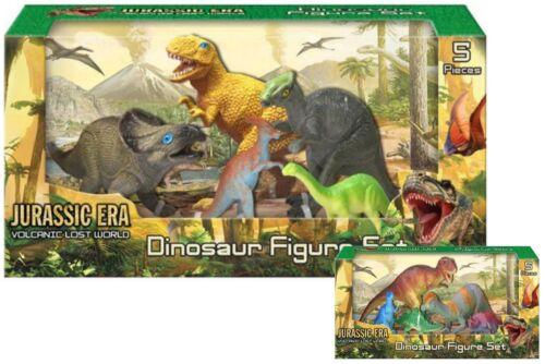 5 PEZZI Giurassico VULCANICA Lost World Dinosauro ACTION FIGURE PLAYSET giocattolo nuovo