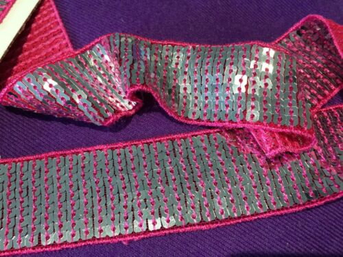 Silver /& Pink Sequin Trim By The Metre