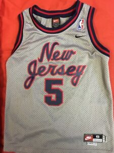 Nike-Jason-Kidd-5-New-Jersey-Nets-Jersey-Sz-YS-2-length-1977-Throwback