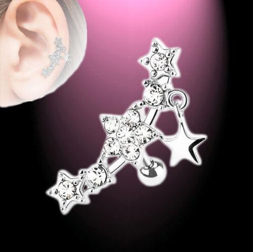 Helix piercing oreja pendientes cartilage estrellas Stars circonita