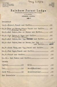 Vintage RAINBOW FOREST LODGE Breakfast Menu Holbrook Arizona 1952