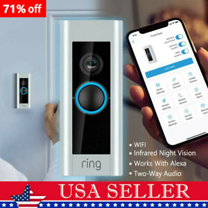 Ring Video Doorbell Pro 1080P Wi-Fi Hardwired 1080P HD Camera Works with Alexa