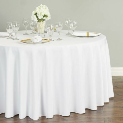 1 White Round 120 inch Tablecloth Polyester 5' Feet Wedding Table Cover USA