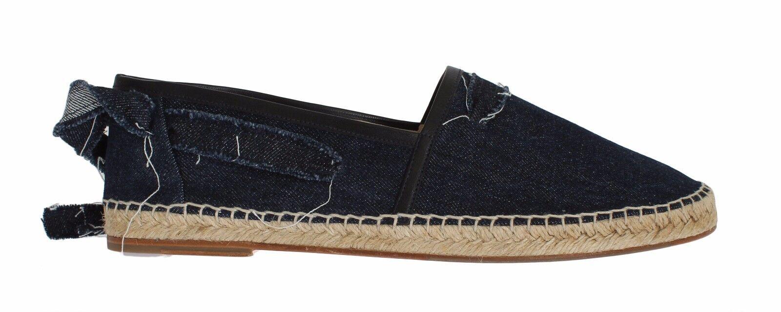 NEW  530 530 530 DOLCE & GABBANA Scarpe Blue Denim Strap Loafers Espadrilles EU44 / US11 d7a2b0