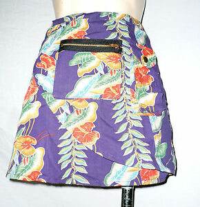 PURPLE-Hawaiian-print-wrap-around-mini-skirt-beachwear-surfer-summer-holiday-new