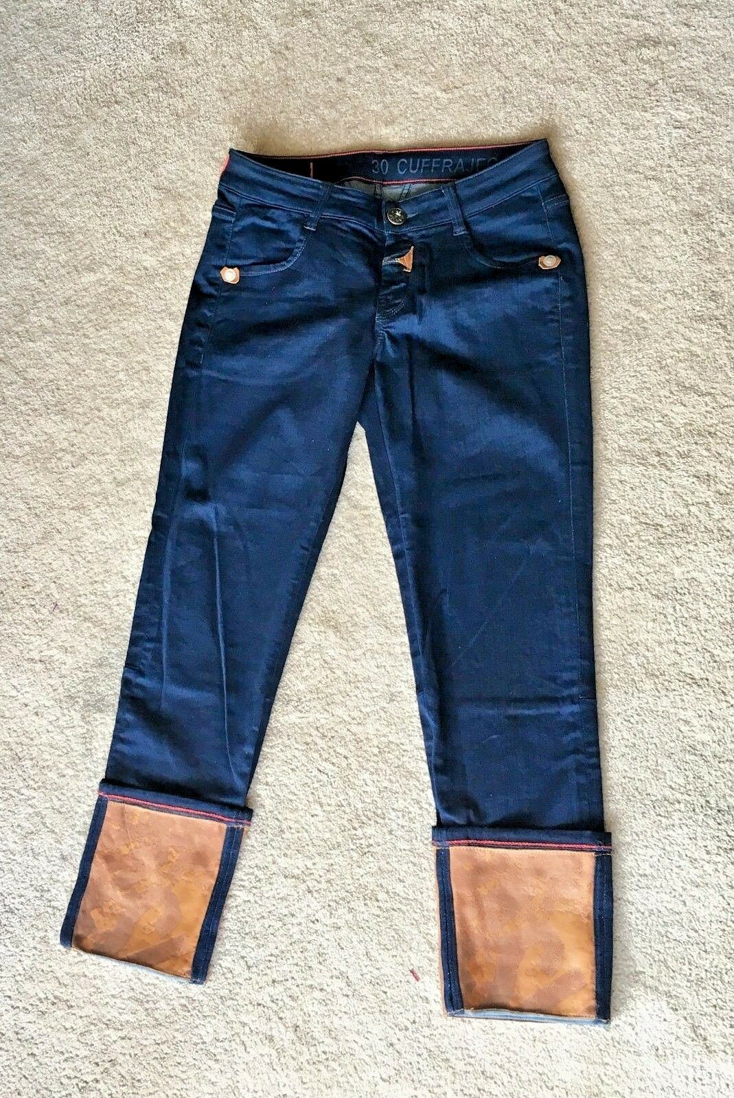 Marithe Francois Girbaud Size 30 Women's Leather Cuff Ankle Jeans NWOT  320