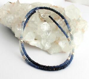 Saphir-Kette-Echt-edelsteinkette-blau-weisse-facettierte-Collier-925-Silber-Damen