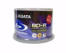 50 RIDATA BluRay 10X Blank BD-R 25GB White Inkjet Hub Printable Media Disc