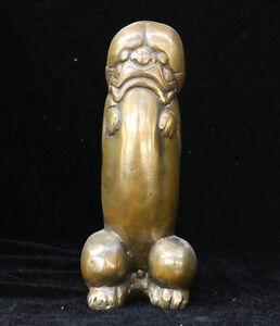 Chinese FengShui Bronze copper Evil Spirits Lion Beast Head Male Genitals Statue