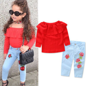 Floral-Toddler-Kids-Baby-Girl-T-Shirt-Tops-Denim-Jeans-Pants-Clothes-Outfit-Set
