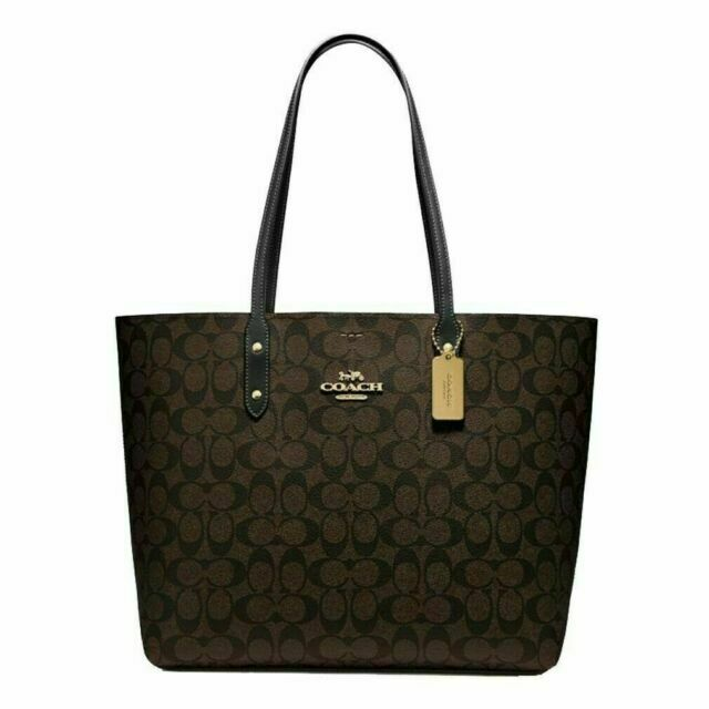 Coach F76636 Town Tote Xl Brown Black For Sale Online Ebay