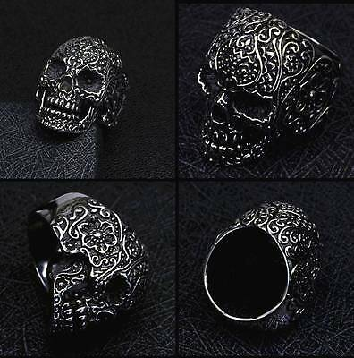 Men's Antique Gothic Skull Flower Silver Stainless Steel Finger Ring Punk Gifts