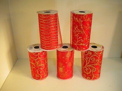 Nastro Organza Rosso Con Decori Porporina Oro Bobina 5 Metri Decorazioni Natale