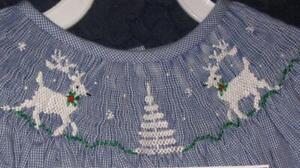 Holiday-Baby-Girls-smocked-LS-Bishop-dress-12M-REINDEER-TREE-NEW-Vive-La-Fete
