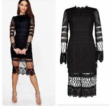 9e765bb4251b Boohoo Boutique Black Jay Lace Crochet Panelled Midi Party Love Island Dress  8