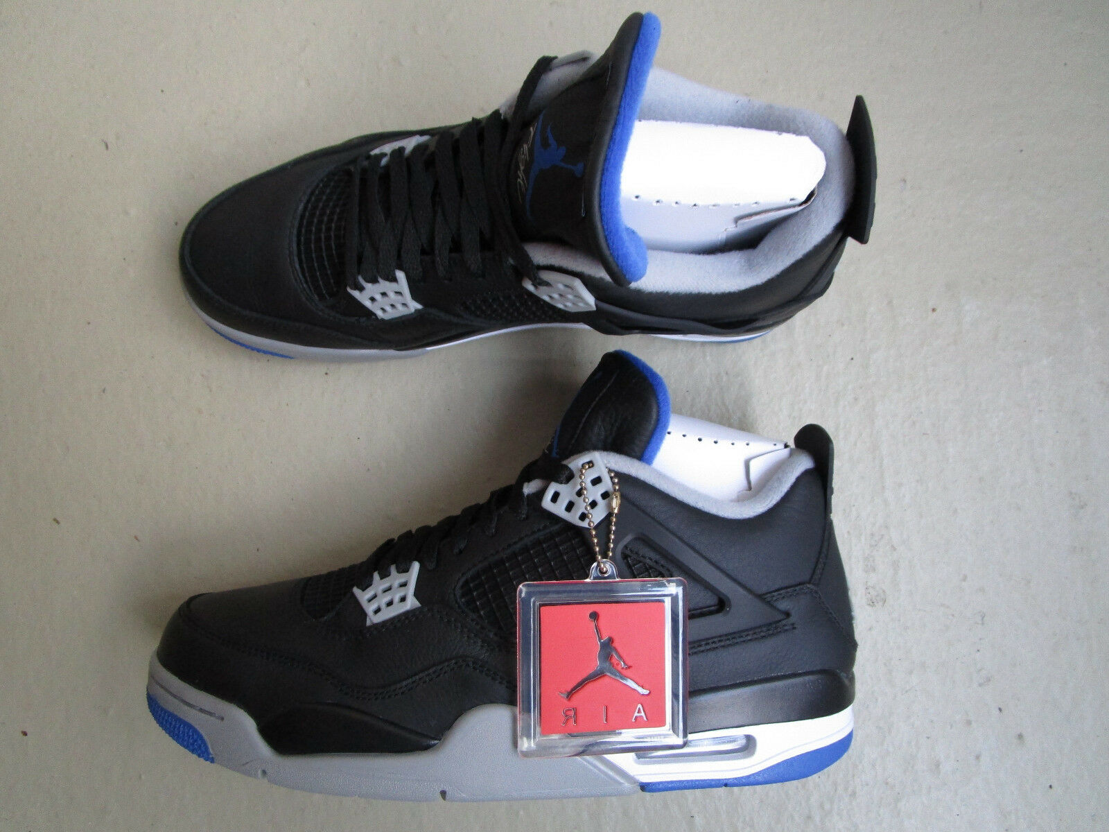 "Nike Air Jordan 4/IV Black/Game Retro 45 ""Alternate Motorsports"" Black/Game 4/IV Royal-Matte ae553a"