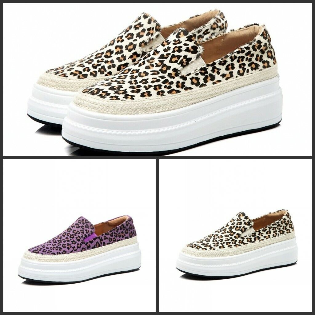 New donna Leather Leopard Slip On Lofers Platform  Flats Casual Creepers scarpe  caldo