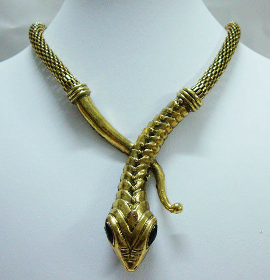 Vintage Fashion Art Deco Gold Snake Animal Statement Necklace Party Jewelry