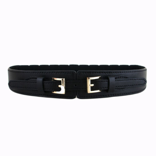 Ladies Faux Leather Stretch Waist Belt Elastic Belts Double Buckle Waistband