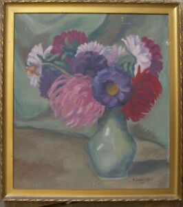 still-Life-Atern-H-Lutz-1923-Oil-Painting-Antique-Frame-SIGNED-FLORAL-FLOWERS-OIL