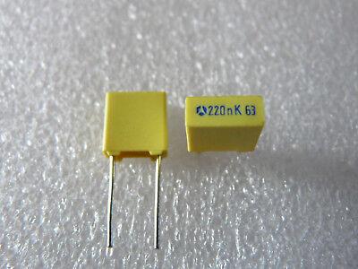 10 condensateurs MKT 220nF 63V 10/% LCC Thomson