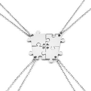 4tlg-4-Familie-Kette-als-Puzzle-Freundschaft-Freundin-Freundschaftskette-M12-NEU