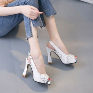 Women-039-s-Peep-Toe-Slingback-Slim-High-Heels-Platform-Pumps-Sandals-Casual-Shoes