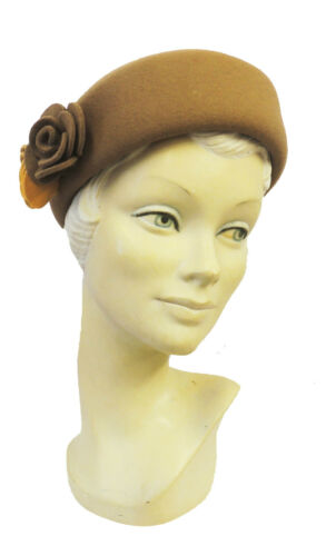 1930s Style Hats   Buy 30s Ladies Hats   New Vtg style 1930s 40s WW2 Wartime Felt Flower Cloche Tilly Hat   $24.99 AT vintagedancer.com