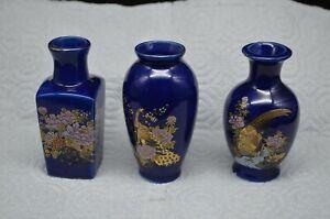 Group-of-3Vtg-Cobalt-Blue-Porcelain-Miniature-Vases-w-Gold-Trimmed-Designs-Japan