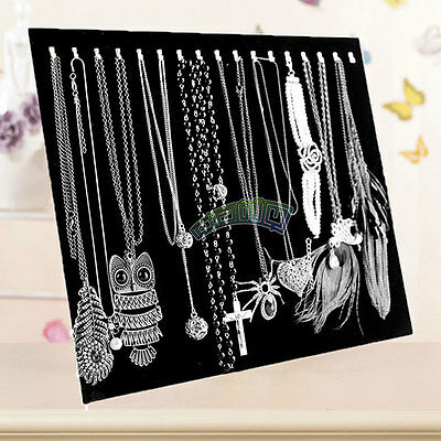 17 Hooks Velvet Jewelry Rack Earring Bracelet Necklace Organizer Holder Display