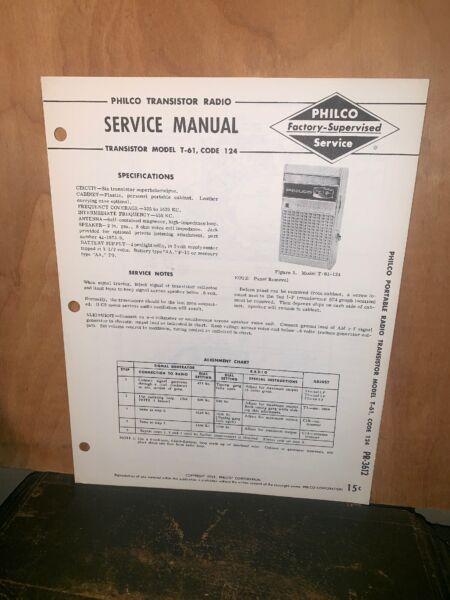 Philco Transistor Radio Model T-61 Service Manual Schematics #2