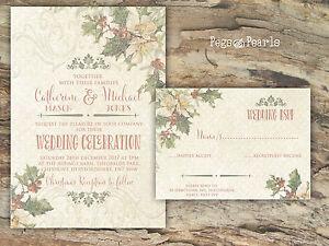 Personalised Rustic Holly Christmas Wedding Invitations Packs Of 10
