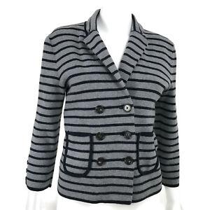 Ann Taylor LOFT Womens Button Up Blazer Jacket Gray Navy Stripe Cotton Small