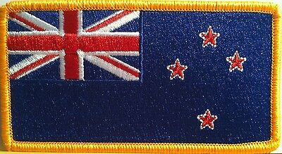 NEW ZEALAND Flag Embroidery Iron-On Patch Military Emblem  Gold  Border