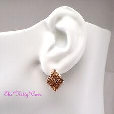 Rose Gold Plated Geometric Rhombus Huggie Stud Earrings w/ Swarovski Crystals