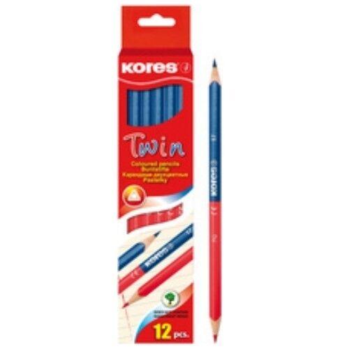 Blau und Rot Korrektur Kores 2-farbiger Lehrerstift Buntstift Twin 12 Stück