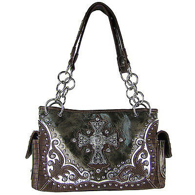 GRAY WESTERN STUDDED RHINESTONE CROSS SHOULDER HANDBAG NEW!!!