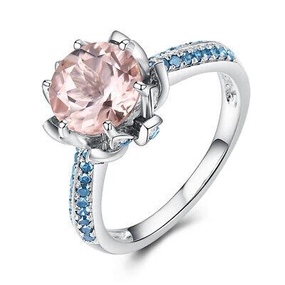 14k White Gold Luxurious Ring Pink Morganite Round 8mm Real Blue Diamonds 0 5ct Ebay