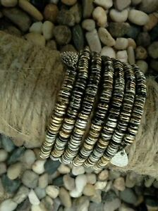 NEW-World-Finds-HAND-MADE-Boho-Paillette-Mix-Metal-Spiral-Wrap-Bracelet-Chic