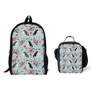 Floral Designs Backpack 2pcs Set Dog Print School Bags Women Girls ... 5201a88475b51