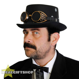 ADULTS-STEAMPUNK-HAT-CHAIN-GREY-COG-BRONZE-EFFECT-GOGGLES-FANCY-DRESS-ACCESSORY