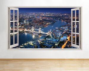London City paisaje ventana de vista d pegatina pared vinilo 3d habitación niños