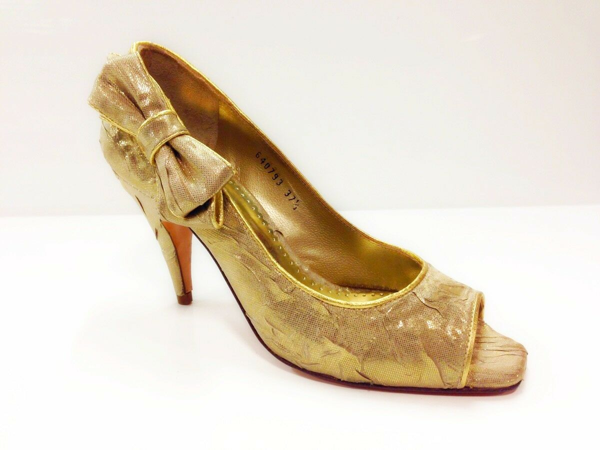 LODI Storm (12065) Womens Gold Peep Toe Court Shoes - Various Sizes Available