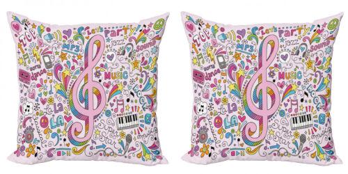 Rosa 2 Teiliges Kissenbezugs Set Notenschlüssel Groovy Doodles