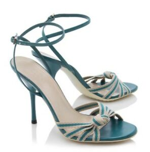 ac7aab127724 Gucci Teal Leather   Fabric Web Knot Sandals Heel Shoes Size 6   36 ...