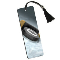 Hockey Puck And Stick Printed Bookmark With Tassel