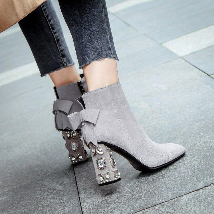 wholesape economico Elegant donna Square Square Square Toe Bowknot Rhinestones Suede Block Heels Ankle stivali scarpe  risparmia fino al 70%