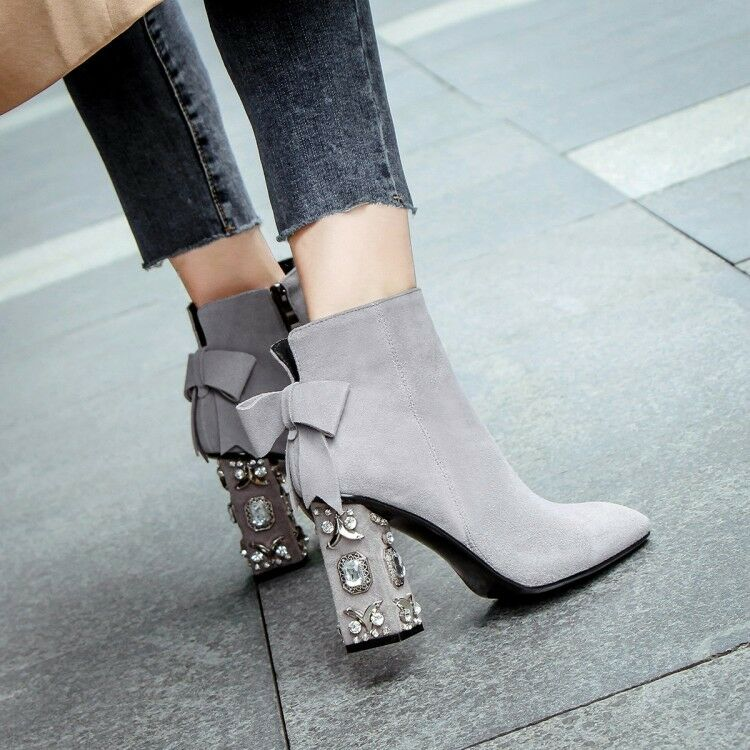 designer online Elegant donna Square Square Square Toe Bowknot Rhinestones Suede Block Heels Ankle stivali scarpe  negozio online outlet