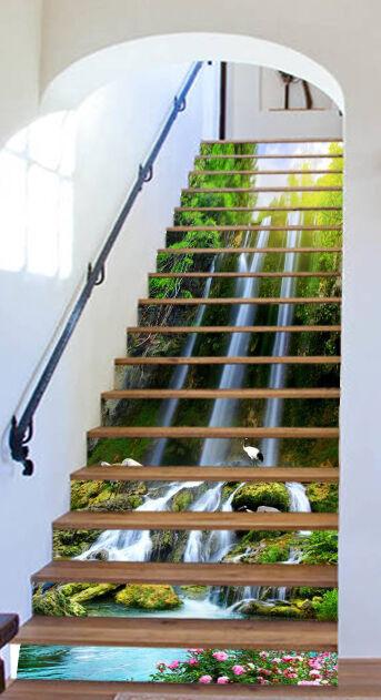 3D Natur Lotus 052 Stair Risers Dekoration Fototapete Vinyl Aufkleber Tapete DE